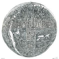 Stephen Wiltshire's new creation titled Globe of Imagination is based on a 360 degree birds eye view depicting a city, which only exists in his mind. Thousands of buildings, avenues, parks, motorways, sidewalks and people, this chaotic but organized masterpiece gives us an insight into the imagination and creativity of a genius.