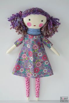 :: earth friendly doll :: hand-stitched purple yarn hair :: approximately 16 inches long :: new and repurposed fabric Introducing Violette. She was