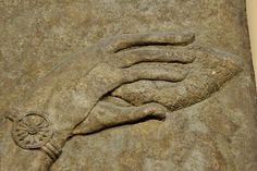 Assyrian Mullilu (by Osama Shukir Muhammed Amin) -- This is a close-up image of a hand carrying an Assyrian mullilu; mullilu is an Akkadian word which means a purifier. This object, most likely a pine cÉ Ancient Aliens, Ancient Art, Ancient History, History Encyclopedia, Cradle Of Civilization, Apa Style, Ancient Near East, Wheel Of Life, House Map