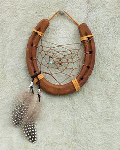 Horseshoe Dream Catcher 6 wide horseshoe by RusticLodgeDecor, $35.00