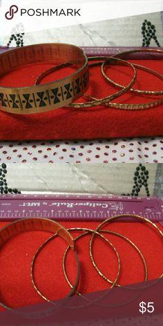 Bronze bracelet 4  bracelets, 3 bangle and adjustable Jewelry Bracelets