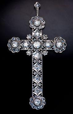 Edwardian jewelry - antique diamond cross 1910s