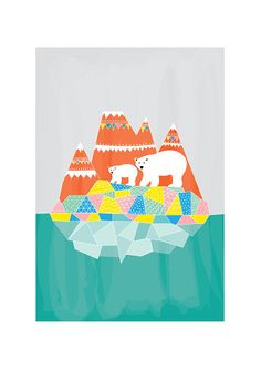 Polar Bears Print Animal Illustration Geomertric by dekanimal