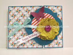 Here is a tri-fold birthday card with a flower made with the Stampin' Up! Blossom punch.