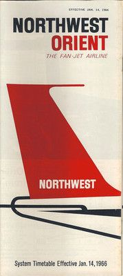 Northwest Orient Airlines System Timetable 1 14 66 201 1 | eBay
