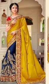 Yellow and Blue Color Satin Silk Half N Half Sari #gujaratidesignersarees#designersarees Sport casually trendy look draped in this yellow and blue color satin silk half n half sari. That you can see some intriguing patterns completed with lace, resham and stones work. Upon request we can make round front/back neck and short 6 inches sleeves regular saree blouse also. USD$ 232(Around £ 160 & Euro 176)