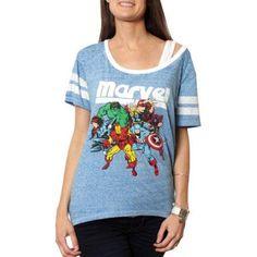 Marvel Juniors' Graphic Hi-Low Football Tee with Contrast Neckline, Size: Medium, Blue