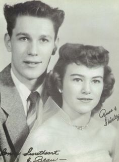 The Senior Sweetheart & Beau - Russ and Shirley - in the 1955 yearbook of Illinois Valley High School in Cave Junction, Oregon.  #IllinoisValley #CaveJunction  #Oregon #yearbook #1955
