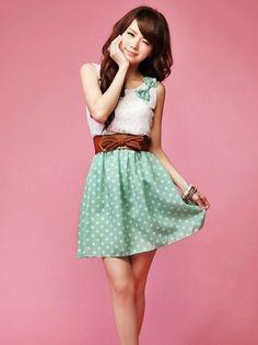 Cute Dot and Lace Dress | Cute Japanese Fashion