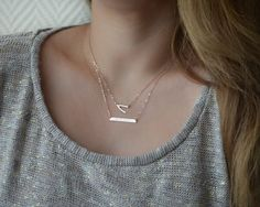 Perfect Bar Name Necklace Gold Bar Necklace by AtelyeSade on Etsy
