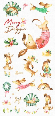 Merry Doggie. Christmas watercolor clipart dachshund dog
