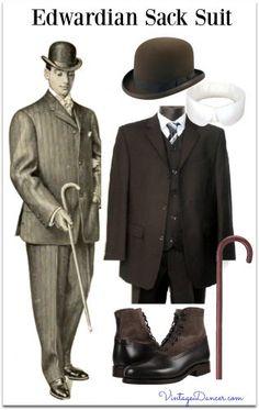 1900s Edwardian Men's Clothing, Costume & Workwear Ideas 1900s Fashion, Edwardian Fashion, Vintage Fashion, Edwardian Era, Victorian Men, Edwardian Clothing, Vintage Clothing, Vintage Inspired Outfits, Vintage Outfits