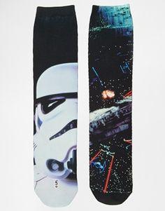Agrandir ASOS - Lot de 2 paires de chaussettes à motif Star Wars par sublimation
