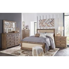 Clearance Gray Rustic Contemporary 6 Piece King Bedroom Set - Austin ...