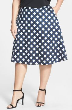 Sejour Print Cotton Sateen Skirt (Plus Size) available at #Nordstrom