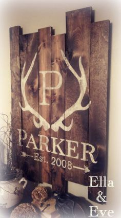 Parker Sign : Antler Monogram Last Name & Est Year...for the kiddo