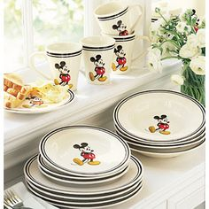 Blue and cream color Mickey Mouse dishes