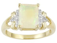 1.40ct Emerald Cut Ethiopian Opal With Diamond Accent 10k Yellow Gold Ring Erv $418.00