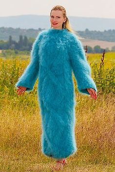 Fuzzy-Hand-knitted-mohair-dress-with-fuzzy-cape-poncho-in-green-SUPERTANYA-S-M-L