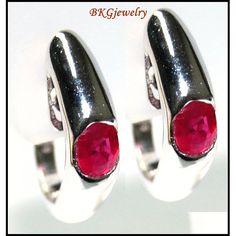 http://rubies.work/0643-ruby-rings/ 18K White Gold Gemstone Natural Ruby Hoop Earrings E_103