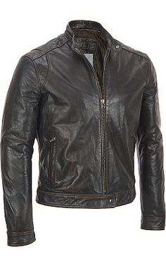 Marc New York Tab Collar Zip Front Leather Jacket - #WilsonsLeather  #LeatherJacket