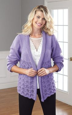 Pin now buy later. Light and lacy design to wear indoors or out. Shown in Grapevine or choose any Mary Maxim Fresh colour. Knitting Patterns, Crochet Patterns, Knit Cardigan, Knit Sweaters, Cardigans, Knit Crochet, Fresh, My Favorite Things, Mary