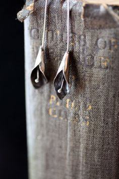 Oxidized Sterling Silver Calla Lily Earrings Long by Specimental