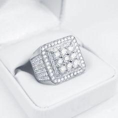 Mens White Gold Finish Black and white diamond Pinky Fashion Ring .50 Ct