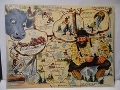 S Paul Bunyan Pictorial Antique Map By RD Handy Maps - Paul bunyan in us map