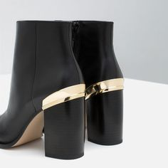 Image 3 of HIGH HEEL LEATHER ANKLE BOOTS WITH METALLIC DETAIL from Zara