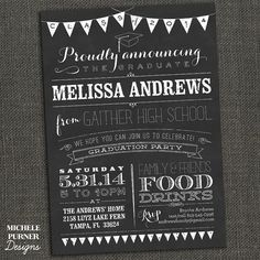 Unique college graduation party ideas letterpress graduation party graduation party invitations see more chalkboard high school or college by michelepurnerdesigns on etsy 1900 filmwisefo
