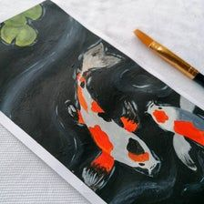 Koi fish in A Pond   Etsy Water Flow, Koi, Paintings, Fish, Plastering, Paint, Painting Art, Painting, Painted Canvas