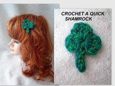 DIYquick crochet shamrock.  Make a brooch, a hairpin, or a bookmark for ...