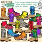 $4 Want to kick off the school year on the right foot?  Kickin' Cowboy  Mountain Boots Clipart With Glitter is a great way to jazz up your TPT se...