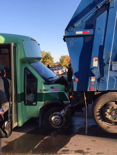 Garbage Truck Backs into Bus in Cadillac