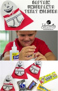 "Kids Crafts | Captain Underpants Treat Holders by infarrantlycreative.net ~ Get the free ""Reading Gives You Superpowers"" printable to glue onto the candy! #pilkeypower #ad"