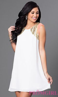 Short Ivory Shift Dress with Sequin Shoulders at PromGirl.com