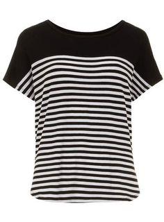 Black Stripe Yoke Jersey Tee - View All Tops - Tops & T-Shirts - Clothing