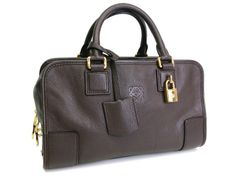 #Sale: was $1,102, now $927 ! #Loewe Amazona 28 Hand bag Leather Dark Brown(BF047845)