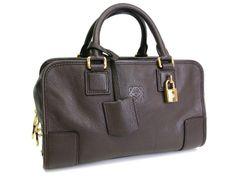 #Sale: was $1,102, now $927 ! #Loewe Amazona 28 Hand bag Leather Dark Brown(BF047845)