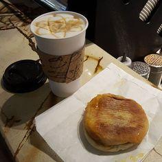 "Looks like a great breakfast! ""Italian sausage sandwich and a caramel coffee #seattle #vovito #breakfast #saturday"""