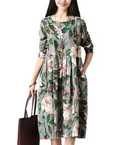 NiSeng Mujeres Vestido Impresión Floral Elegante Mangas Largas Sueltas  A-Line Vestido Gris M 20b552db16d6