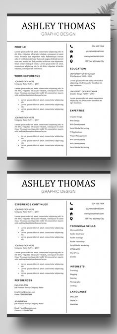 Teacher Resume Template - CV Template Word - Professional Resume - Job Resume Format Download