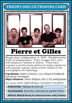 Pierre et Gilles - Theory.org.uk trading cards