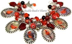 Cardinals Charm Bracelet Cardinal Jewelry by baublesbeadsncharms