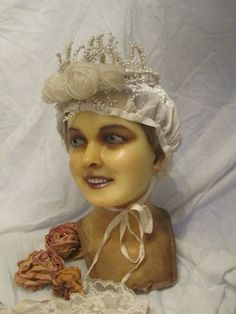 Antique Wax Mannequin Bridal Head Doll Victorian Display Oddity Human Hair