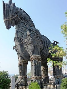 """TROJAN HORSE, Çanakkale TURKEY, this is the nearest major town to the city of TROY. The wooden horse on the 2004 movie """"TROY"""" is exhibited on the seafront. Ancient Troy, Oh The Places You'll Go, Places To Visit, City Of Troy, Travel Around The World, Around The Worlds, Trojan Horse, Holiday Places, Roadside Attractions"""