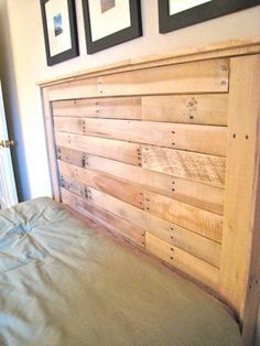 Nice. Headboard made from reclaimed pallet wood. How inexpensive can it get and still look good?