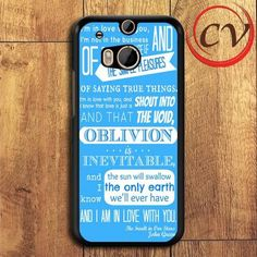 Blue John Green Quotes HTC One M8 Black Case