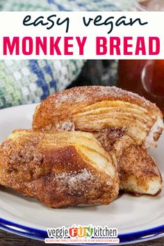 Vegan Monkey Bread, sweetly spiced with cinnamon, ginger, nutmeg, and cloves; and made with vegan compliant ingredients. This monkey bread is a quick and easy fun weekend breakfast the whole family will enjoy! I always thought monkey bread was the strangest name for a pull-apart cinnamon sugar bread. According to Wikipedia (which knows all!), monkey bread is called such because it can be picked apart like a little monkey would. Makes sense! | @veggiefunkitchen